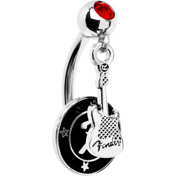 Licensed FENDER Red STRATOCASTER FENDER F DISC Top Dangle Belly Ring