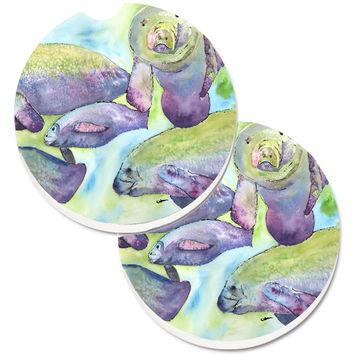 Manatee Set of 2 Cup Holder Car Coasters 8544CARC