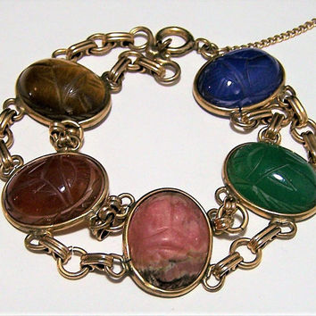 Wide Carved Stone Scarab Bracelet, Side Ways Set, 12k Gold Filled, Chrysoprase, Rhodonite, Tigers Eye, Carnelian, Chalcedony 917