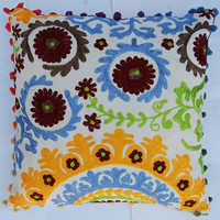 Suzani Cushion Covers Indian Decorative Pillow Cases Handmade Woolen Embroidered Pillow Case Rangoli Design pillow case with Cotton PomPoms