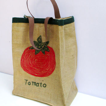 Tomato jute market tote, one of a kind,farmers bag, chic, stylish, attactive, roomy