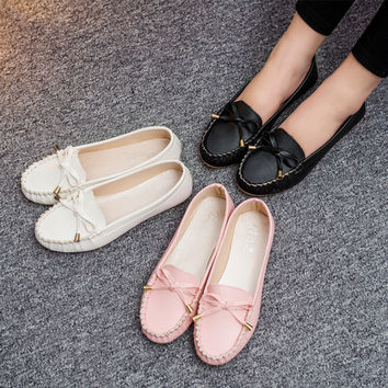 Summer Round-toe Low-cut Butterfly Flat Shoes [8865368780]