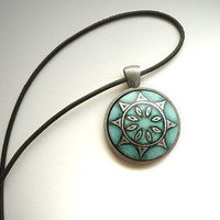 Black Leather Cord Necklace, Hand Painted Pendant, Green Jade Choker, Arts and Crafts