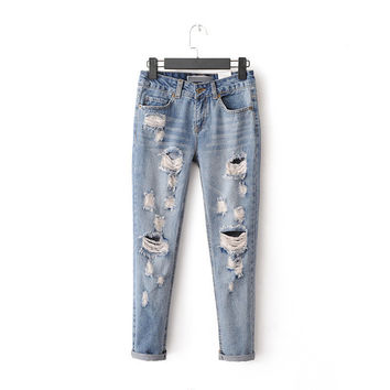 Summer Heavy Work Rinsed Denim Ripped Holes Jeans Cropped Pants [6332323652]