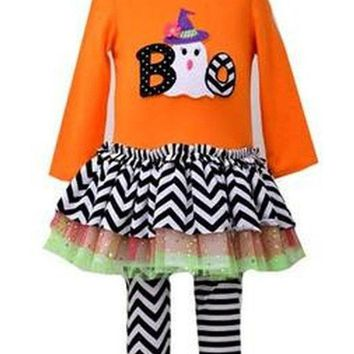 Bonnie Jean-Halloween Ghost Boo Legging Set , Orange