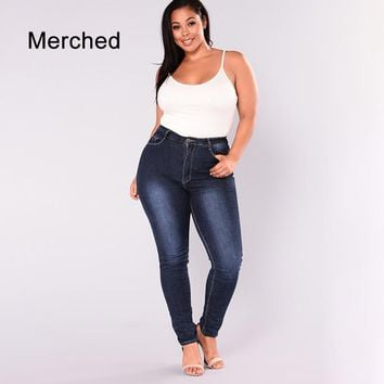 Merched Sexy Skinny Solid Brief Women Jeans 6XL Casual Vintage High Waist Pencil Pants Streetwear 7XL Plus Size Denim Trousers