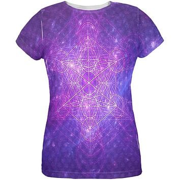 Sacred Geometry Metatron Cube Map of Creation All Over Womens T Shirt
