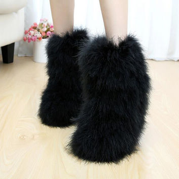 Winter women's boots genuine real hairy Ostrich Feather furry Fur flats snow boots plush warm ski outdoor boots bootie flat shoe