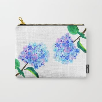 blue purple hydrangea Carry-All Pouch by Color And Color