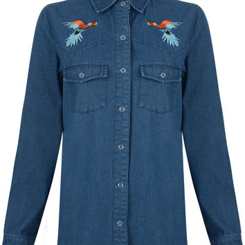 Bellfield Gude Parrot Embroidered Long Sleeve Denim Shirt