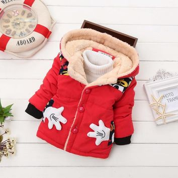 Retail!1-5 yrs, 2017 new baby boy and girls winter cartoon thicking warm cotton outerwear jacket coat,boy clothes,free shipping