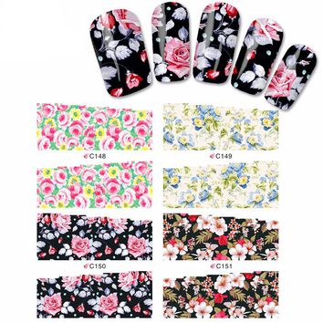 C148-151&156-159 Mix full cover nail sticker flower water transfer nail sticker on nail art sticker sheet on finger nail