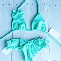Bow Bikini Set  in Seafoam
