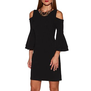 New Black Flare Sleeve Cold Shoulder Mini Dress