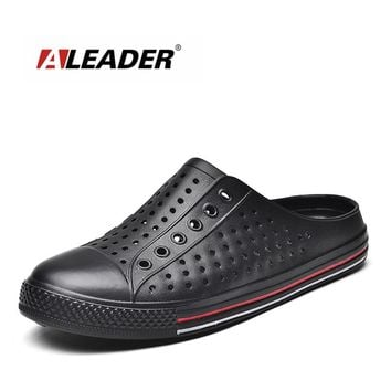 ALEADER Casual Spring Mens Sandals Breathable Slip On Garden Clogs Beach Pool In&outdoor Water Shoes Lightweight Men Flats