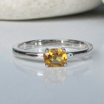 Dainty Citrine Ring- Stack Ring- Gemstone Ring- November Birthstone Ring- Yellow Topaz Ring- Topaz Ring- Promise Ring- Delicate Ring