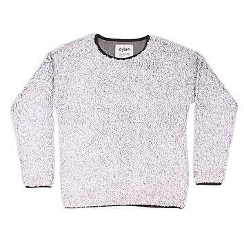Solid Frosty Tipped Drop Shoulder Crew Sweater in Heather by True Grit (Dylan)