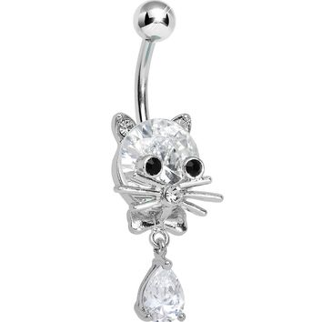 Crystalline Gem Sophisticated Kitty Cat Dangle Belly Ring