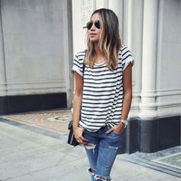 Striped Scoop Short Sleeves Casual Loose T-shirt
