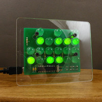 Binary Clock, 24-hour clock, GREEN LED, modern clock, desk clock, transparent clock
