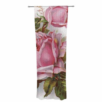"Suzanne Carter ""Vintage Rose"" Pink Floral Decorative Sheer Curtain"