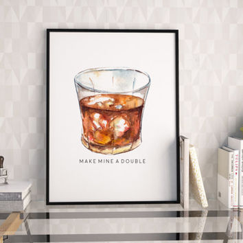 WHISKEY GLASS, Make Mine A Double, Whiskey Glasses,Bar Decor,Bar Cart,Bar Sign,Funny Poster,Funny Bar Decor,Bar Table,Typography Posters