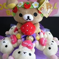 Rilakkuma plush doll flower bouquet with Ferrero Rocher Chocolates. Lovely birthday gift