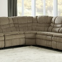 5 pc Zavion II collection caramel colored fabric sectional sofa with three recliners