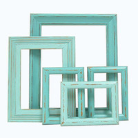 Shabby Chic Picture Frames Turquoise Aqua by MountainCoveAntiques