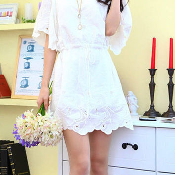 White Strappy Embroidered Mini Dress