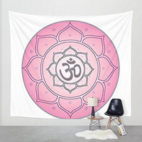 Yoga Mandala Tapestry Pink Ohm Symbol Hippy Tapestry Wall Hanging