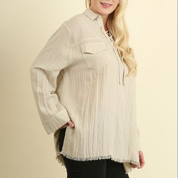 Women's Plus Collared Lace-up Top