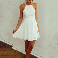 White Halter Backless Strappy Chiffon A-line Mini Skater Dress