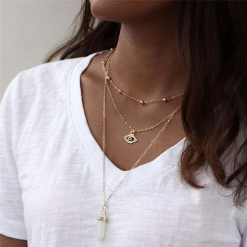 IF YOU 8 Colors Natural Crystal Turkish Eye necklaces & pendants For Women Geometric Trendy Stone Bead Chain Necklace Jewelry