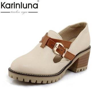 Karinluna Women's Chunky Heel Platform Shoes Woman Buckle Up Color Mixed Leisure Pumps Big Size 34-43