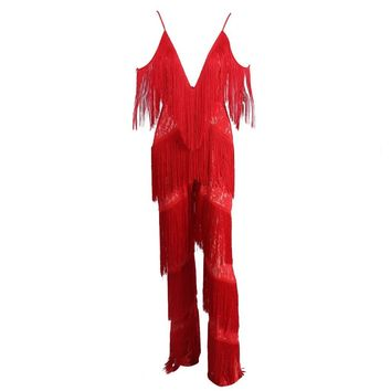Red Fringe Jumpsuit