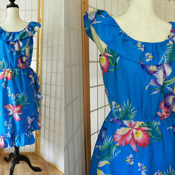 Vintage Helena's Hawaiian Tropical Blue Dress, Long Ruffled Summer Dress S/M