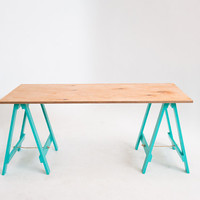 Vintage Green Legs Trestle Table