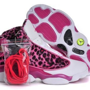 Fashion Online Hot Nike Air Jordans 13 Women Shoes Leopard Print Pink White