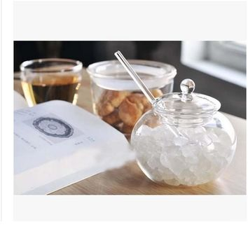 2017 fashion clear Glass Sugar Bowl Set with Lid and Spoon Storage Container with Cover Salt Seasoning Oil Sugar Creamer Pots