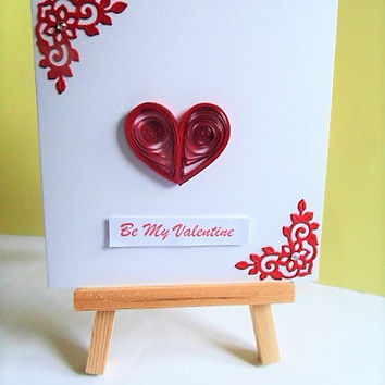 Be my Valentine card, Valentines card, Valentines day card, quilled card, love card, heart card, greeting card, handmade card, card for her