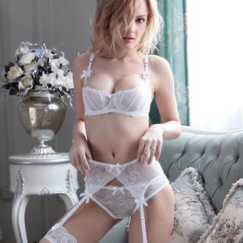 Sexy lace ultra-thin transparent uncushioned half-cup bra set