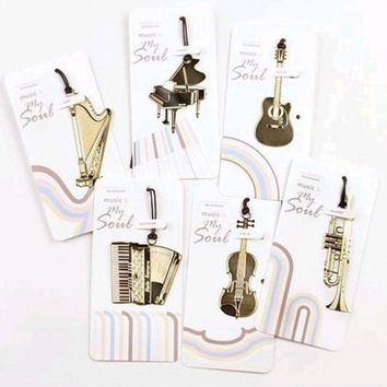 VONC1Y (1Pcs/Sell)18k Gold Musical Instruments Christmas Gift Metal Bookmarks Delicate For Book Creative Item Kids Korean Stationery