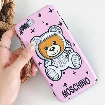 MOSCHINO Cute Stars Astronaut Teddy Bear Soft Mobile Phone Cover Case For iphone 6 6s 6plus 6s-plus 7 7plus 8 8plus X XSMax XR Pink