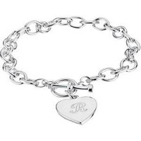 Sterling Silver Cable Toggle Bracelet 7mm with Engravable Heart Charm
