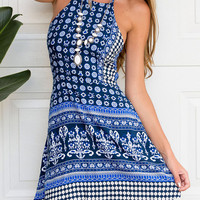Blue Mixed Folk Print Strappy Back Halter A-line Dress