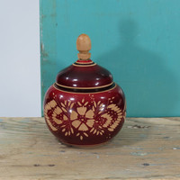 Turned Wooden Stash Tobacco Container Vented Carved Wood