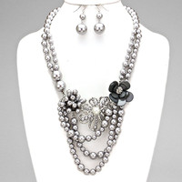 Flowers Of Pearl Statement Necklace RHODIUM GRAY