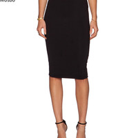 Back Zipper Pencil Slim Waist Midi Fitted Knee Length Stratight Skirt in Black