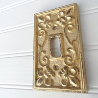Switch Plate, Single Switchplate, Gold Light Switch Plate Cover, Decorative Switchplate, Metal Switch Plate Cover, Cast Iron Switch Cover